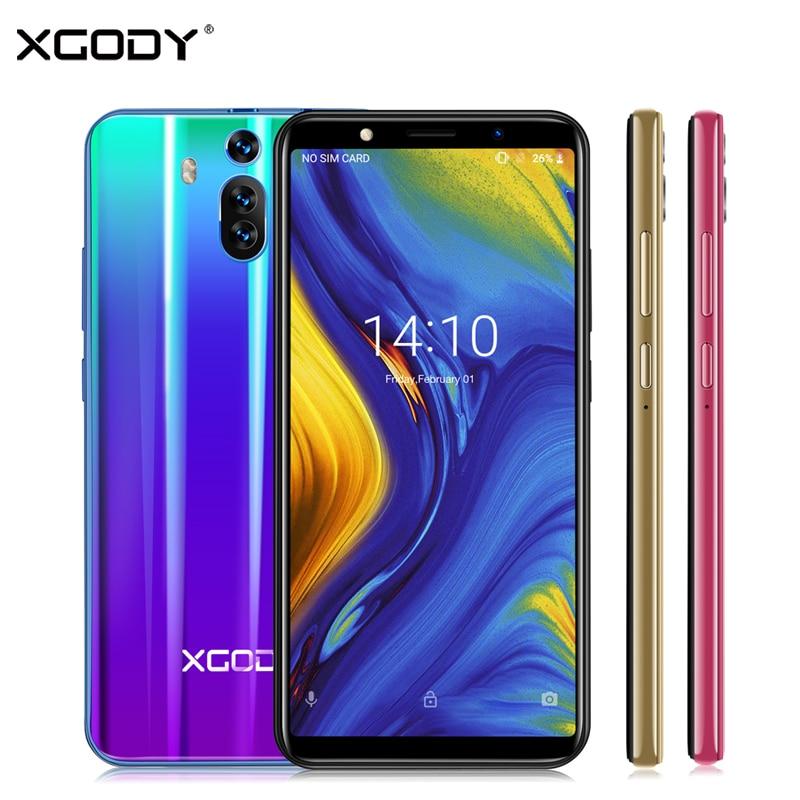 XGODY Companheiro RS 3G Dual Sim Smartphone Android 8.1 6 Polegada 18:9 Tela Cheia Do Telefone Móvel 1 GB de RAM 8 mAh 2800 GB ROM GPS WiFi Celular