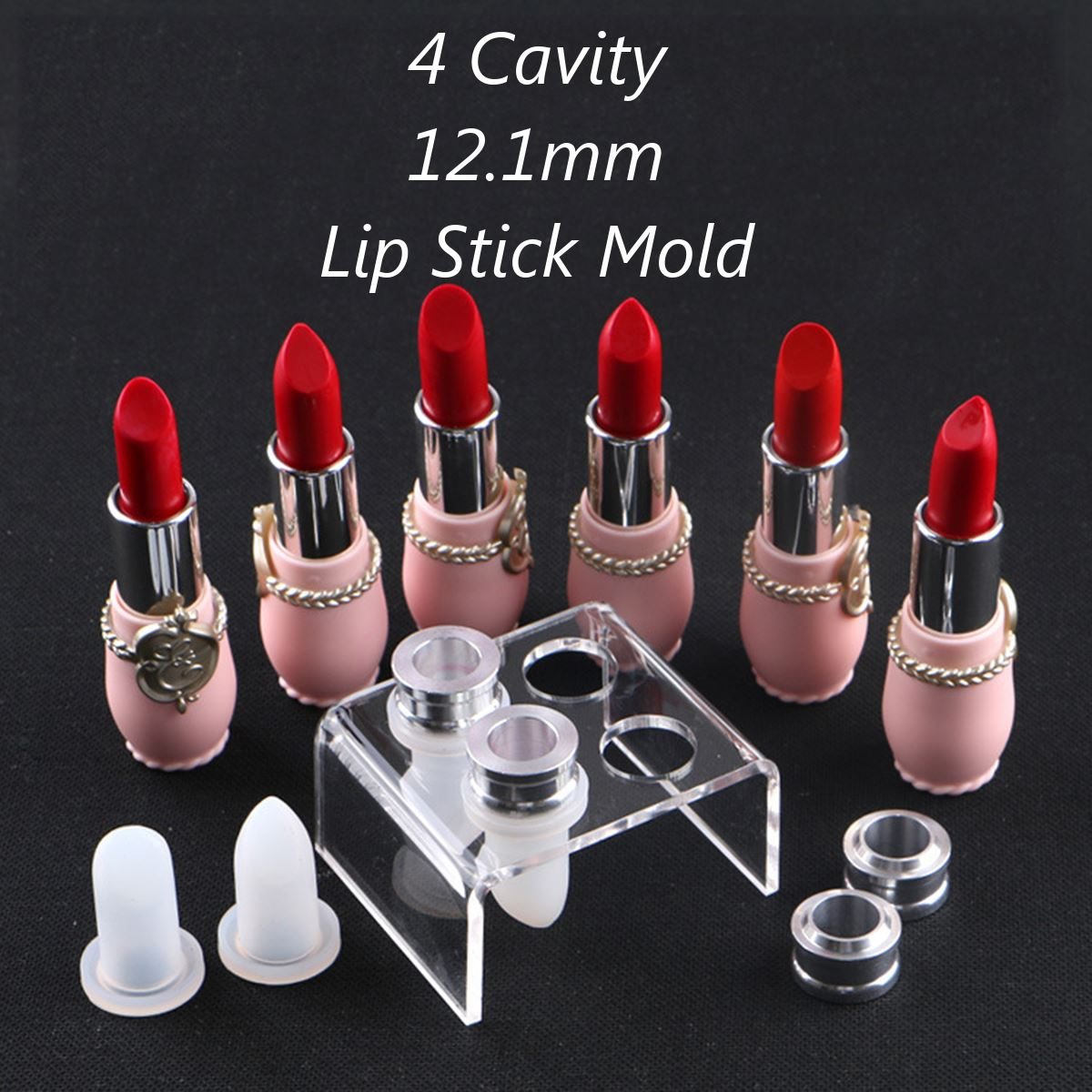 9pcs DIY Lipstick Mould Crafts Tool Kit Beak Shape Mould With Aluminum Ring Acrylic Holder Stand For 12.1mm Lip Balm Tube 2017
