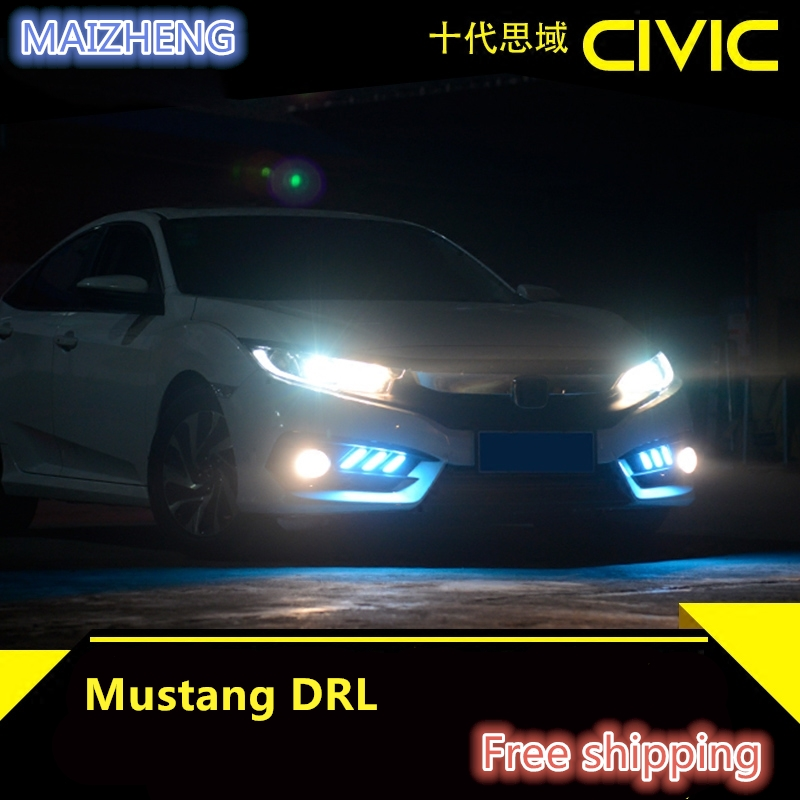 urning Signal style relay 12V Car LED DRL Daytime Running Lights Accessories with Fog Lamp hole For Honda Civic 10th 2016 2017 12v oe fittimng factory style fog lights