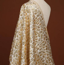 Gold Gloss Stiff Jacquard Fabric Brocade Bridal Wedding Dress For Prom 55wide/ 140 cm, Bold by 50 cm Long