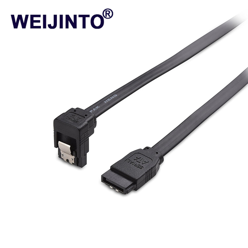 WEIJINTO 90 Degree Right-Angle Striaght Angle 6.0 Gbps SATA III Cable 7pin sata3 III 45cm cable