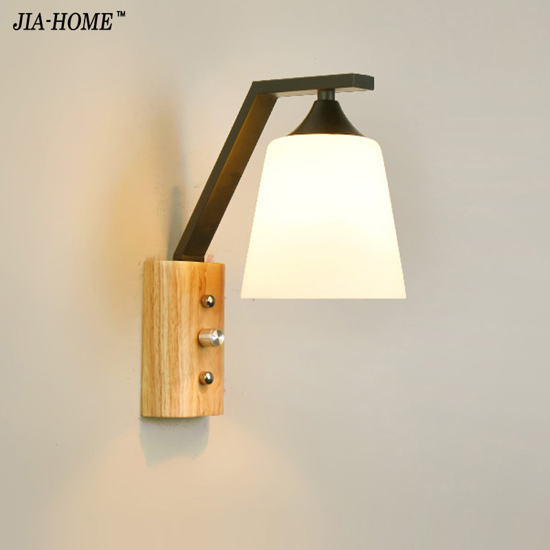 Wall lamps white color Sconce glass lampshade 1 lamp for Indoor bedroom bedside Lamp balcony lighting fixtures luminaria