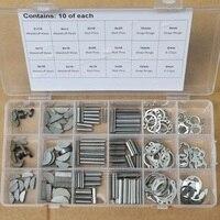 180Pcs 18 Kinds Set Woodruff Keys Stainless Steel Snap Ring Roll Pin E Clip Kit