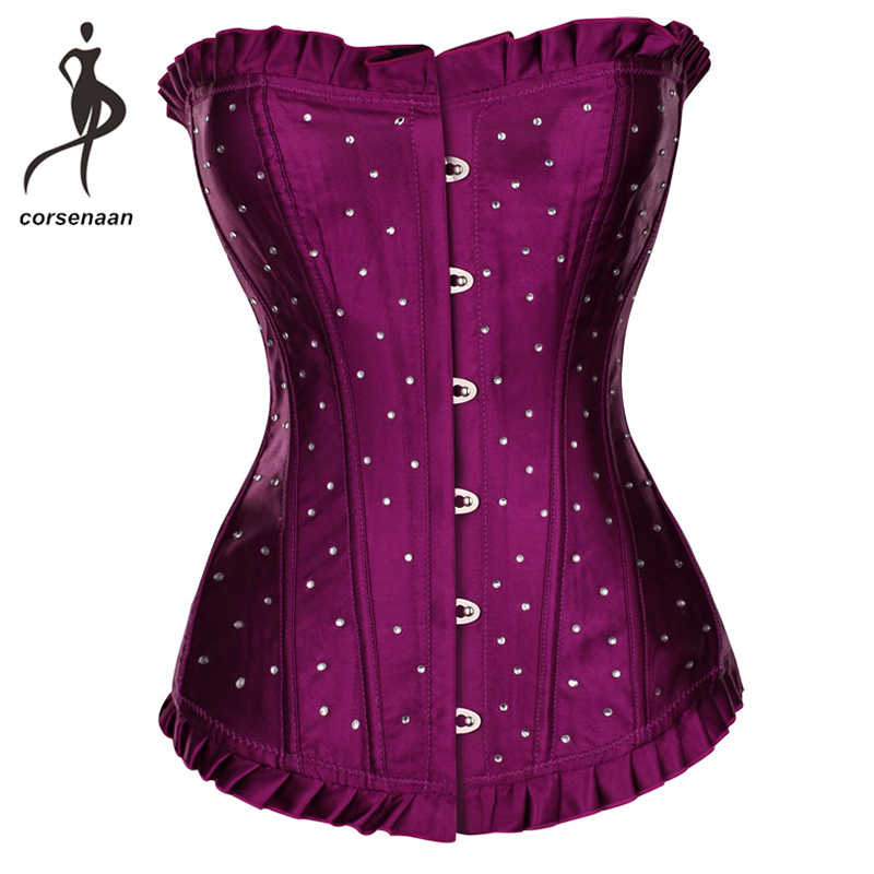 Plus Size Gothic Satin Corselet Sequin & Rhinestone Dance Wear Costumes Lace Up Boned Corsets Body Shapewear Top For Party 848#