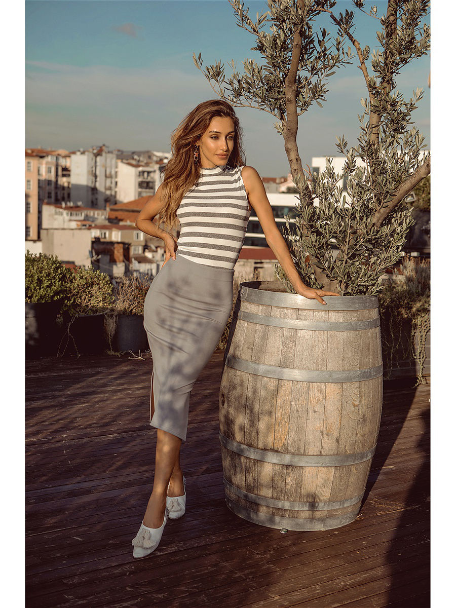 Skirt. Color gray double breasted pencil skirt