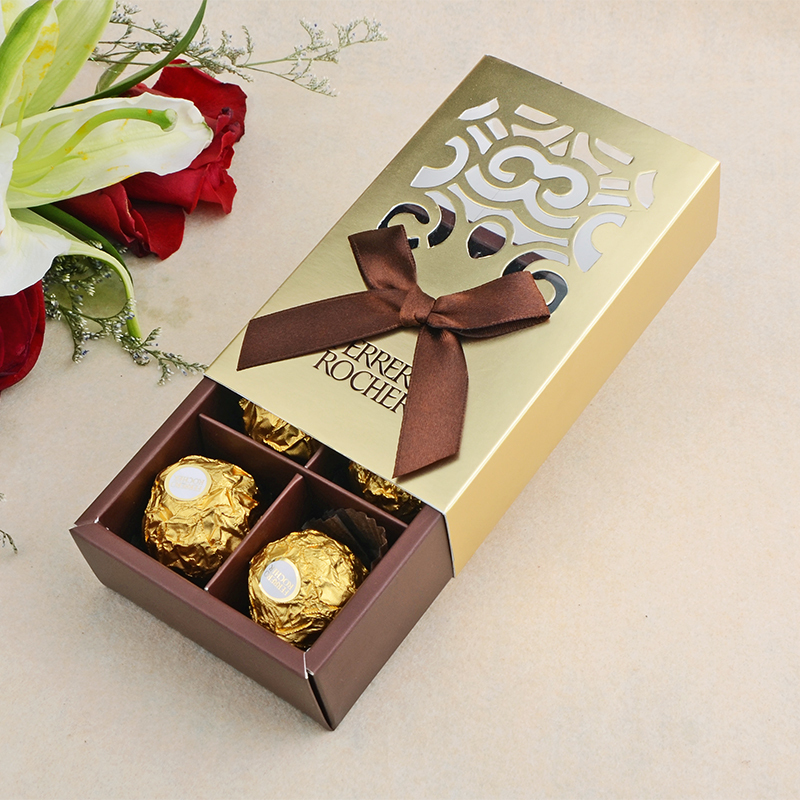 50pcs Wedding Favors Gold Color Chocolate Packaging 6 Hole Baby