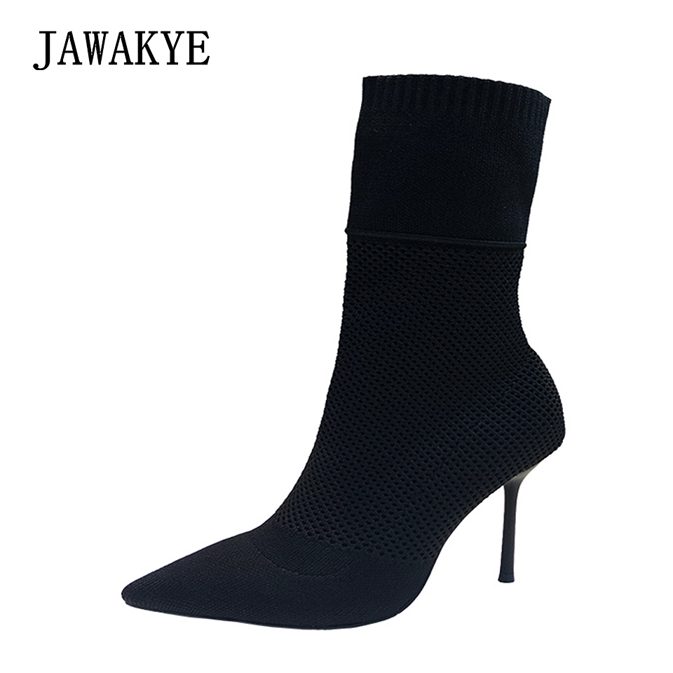 2018 New Stretch Knit fashion Ankle Boots Heels Women Thin kitten Heel Short Booties Pointed Toe Sock Shoes High Heels boots floral female kid suede high heel shoes genius leather martin boots punk ankle boots thin heels women pointed toe booties