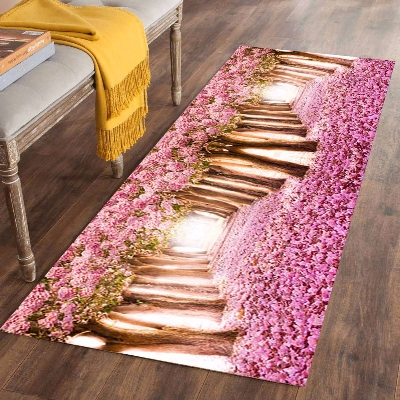 Else Pink Trees Floral Flowers Love Road 3d Print Non Slip Microfiber Washable Long Runner Mats Floor Mat Rugs Hallway Carpets