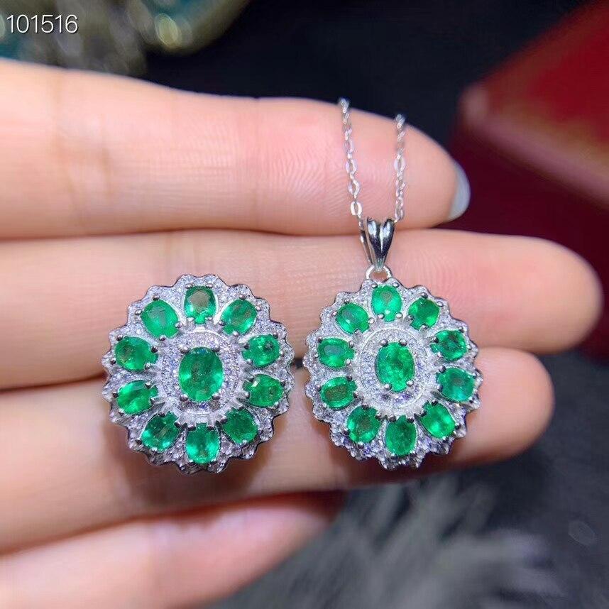 KJJEAXCMY boutique senhora pingente de colar de jóias 925 prata incrustada natural emerald anel taoz detecção apoio
