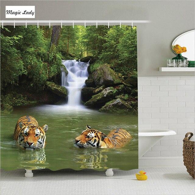Rideaux De Douche Cascade Salle De Bains Accessoires Safari Tigres