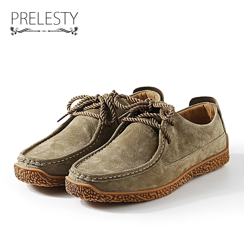 Prelesty Winter Suede Loafers Men Shoes Casual Genuine Leather Driving Shoes Mens Moccasins Breathable Chaussure Homme genuine leather men casual shoes summer loafers breathable soft driving men s handmade chaussure homme net surface party loafers