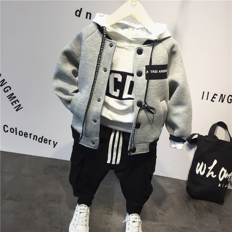 3pcs boys casual all match clothing set kids spring autumn clothes baby gray hooded hoodies white
