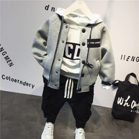 3pcs boys casual all match clothing set kids spring autumn clothes baby gray hooded hoodies white letter t shirt black pant set