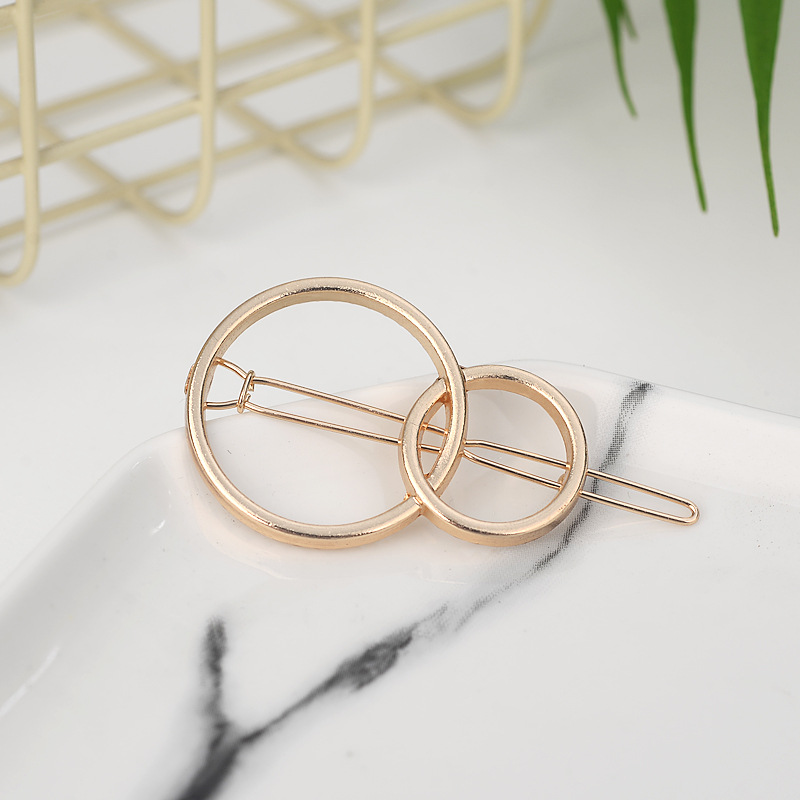 Fashion Woman Hair Accessories Triangle Hair Clip Pin Metal Geometric Alloy Hairband Moon Circle Hairgrip Barrette Girls Holder