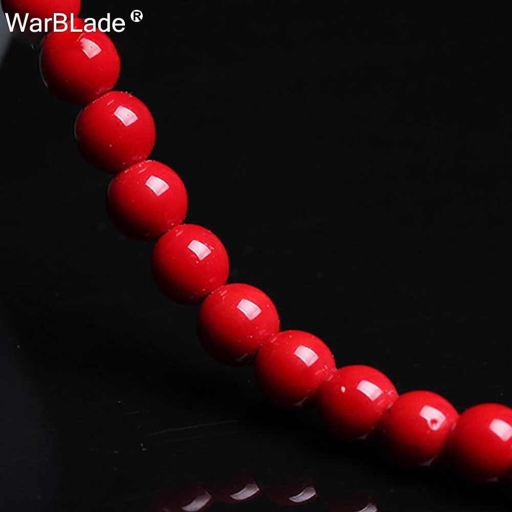 WarBLade hurtownia kamień naturalny czerwony koral koraliki okrągłe luźne koraliki 4mm 6mm 8mm 10mm do tworzenia biżuterii naszyjnik DIY bransoletka