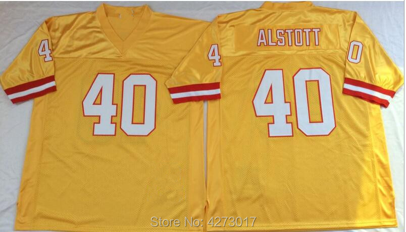 cf7f38ad280 Mens Embroidered Logo mike alstott 40 yellow throwback high school FOOTBALL  JERSEY