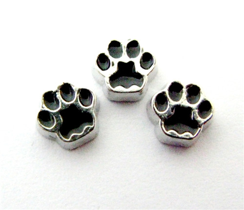 20PCS Alloy Black Paw Floating Charms Fit Glass Locket Charms DIY Jewelry Accessories