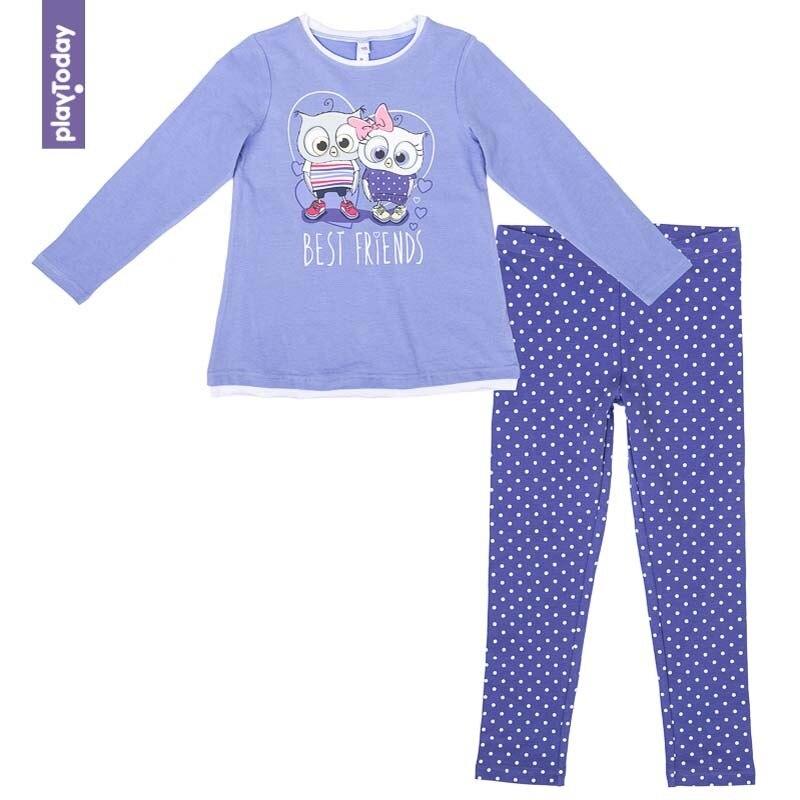Купить со скидкой Комплект футболка с дл.рукавом, леггинсы (трикотаж) PLAYTODAY для девочек 372071