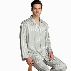 Image 5 - Мужской Шелковый Атласный пижамный комплект, пижамный комплект PJS Пижама, комплект для отдыха США, M,L,XL,2XL,3XLL,4XL Plus полосатый