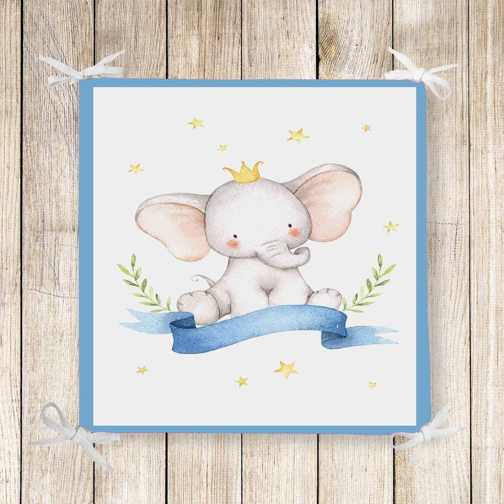 Else Blue Cute Elephant Yellow Stars 3d Print Chair Pad Seat Cushion Soft Memory Foam Full Lenght Ties Non Slip Washable Zipper