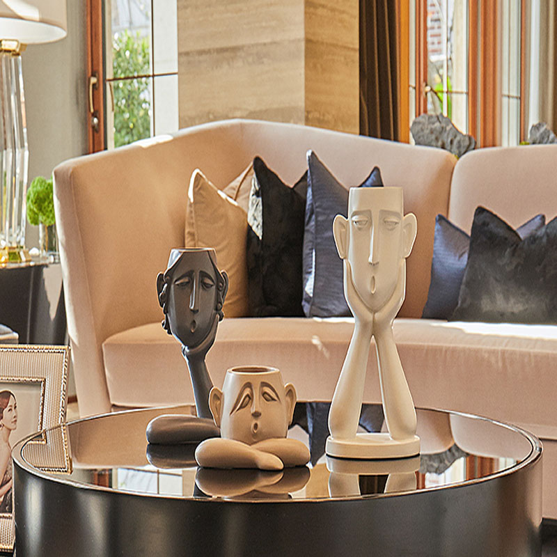 Ceramic Creative People Face Vase Set Nordic Style Home Flower Vase Porcelain Statue Figurine Home Decor