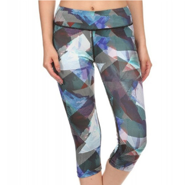 Amtal Women Geometric Colorful Abstract Marble Printed Activewear Capris