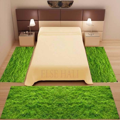 Else 3 Piece Green Grass Floor Floral Design 3d Pattern Print Non Slip Microfiber Washable Decor Bedroom Area Rug Carpet Set