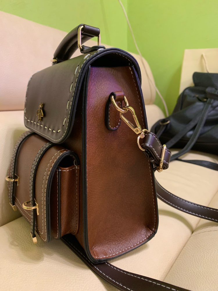 MARFUNY Little Bee Vintage Pu Leather Women Backpack Simple Preppy Style Backpack Women Famous College Backpack Women mochilas photo review