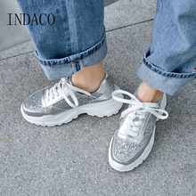 Women Sneakers Platform Silver Glitter Leather Fashion 2019 Casual Shoes 7.5cm 34-39
