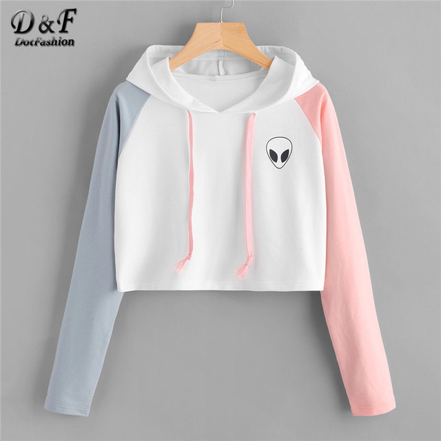 c5a72594 Dotfashion Colorblock Alien Print Crop Hoodie Women Casual Autumn Hooded  Long Sleeve Pullovers Ladies Spring Preppy Sweatshirt