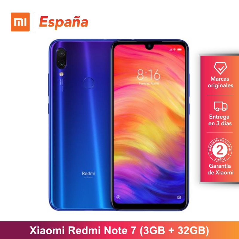 "Xiaomi Redmi Note 7 de 6.3"" FHD+ (ROM 32GB, RAM 3GB, Doble Camara Trasera 48+5 MP con IA, 4000 mAh) [Version Espanola]"