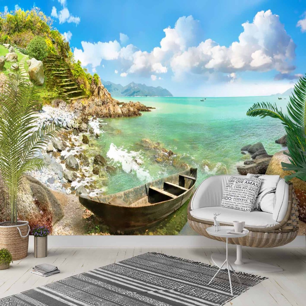 Else Tropical Palm Blue Sky Sea Side Sandals 3d Photo Cleanable Fabric Mural Home Decor Living Room Bedroom Background Wallpaper