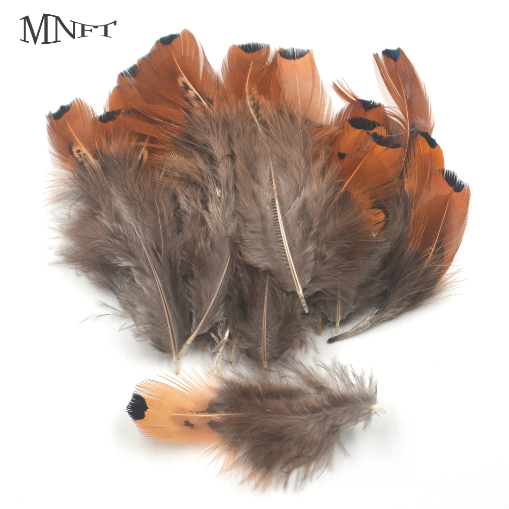 MNFT 50Pcs Small Black Dot End Brown Color Tail Wing Feather fly fishing natural tying material Size 5~7cm