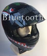 Trasporto libero del casco di bluetooth per il telefono del motociclo del casco del fronte pieno caschi da corsa con sunny lente M L XL formato del casco