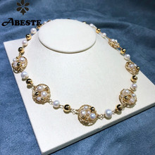 ANI 14K Roll Gold Handmade Women Torques Natural Freshwater White Pearl Necklace fine Engagement Jewelry Fashion Design