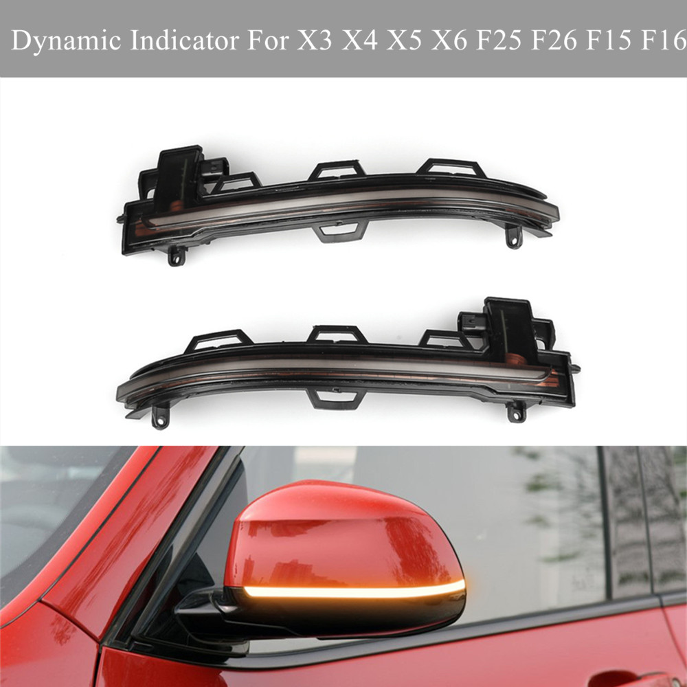 For BMW X3 X4 X5 X6 F25 F26 F15 F16 2014 2018 LED Dynamic Turn Signal Blinker Sequential Side Mirror Indicator Scroll Light Lamp-in Mirror & Covers from Automobiles & Motorcycles    1