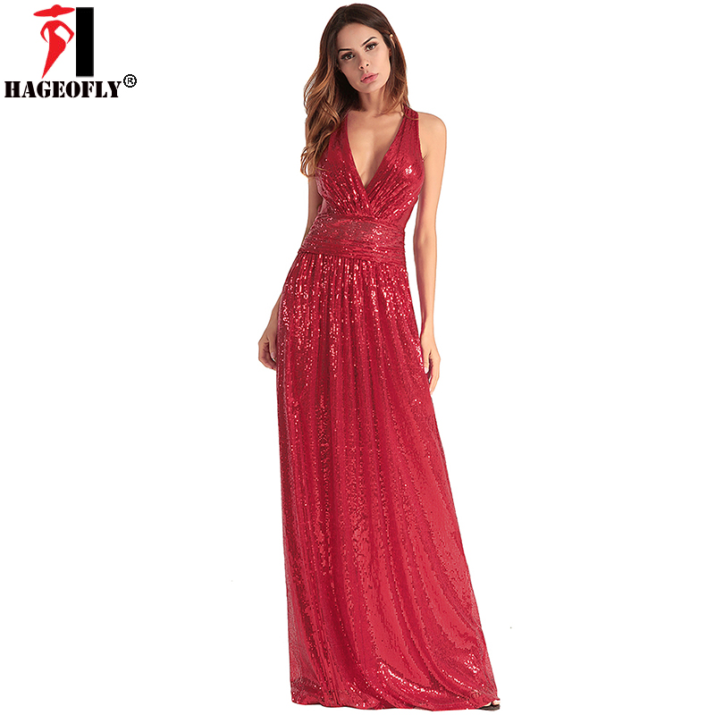 HAGEOFLY Women Summer Straps Maxi Dress 2018 New Slim Fit Flare Big swing  Cross Backless Sequined Dresses Long Female Plus Size-in Dresses from  Women s ... e53e21b4b889
