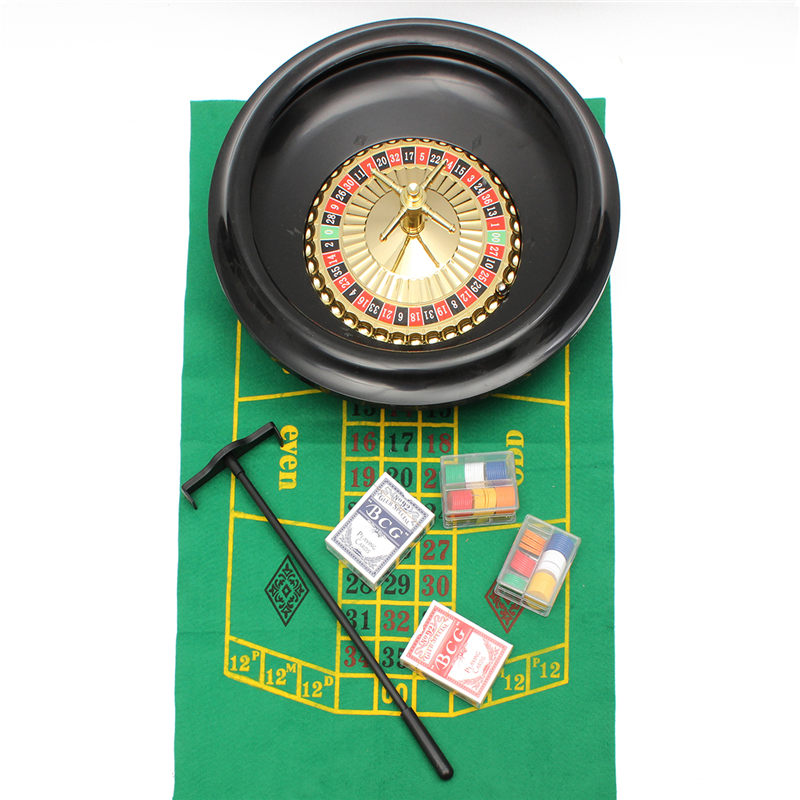 Roulette Wheel Casino Game Set Metal Case Gift Toys for Party Poker Chips Roulette Balls Playing Cards Dice Bar Board Game Toys lucky shot drinking roulette game 6 cup set