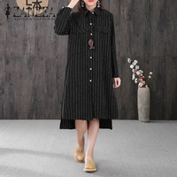 Plus Size ZANZEA Women Lapel Neck Long Sleeve Split Hem Long Shirt Vestido Buttons Down Linen