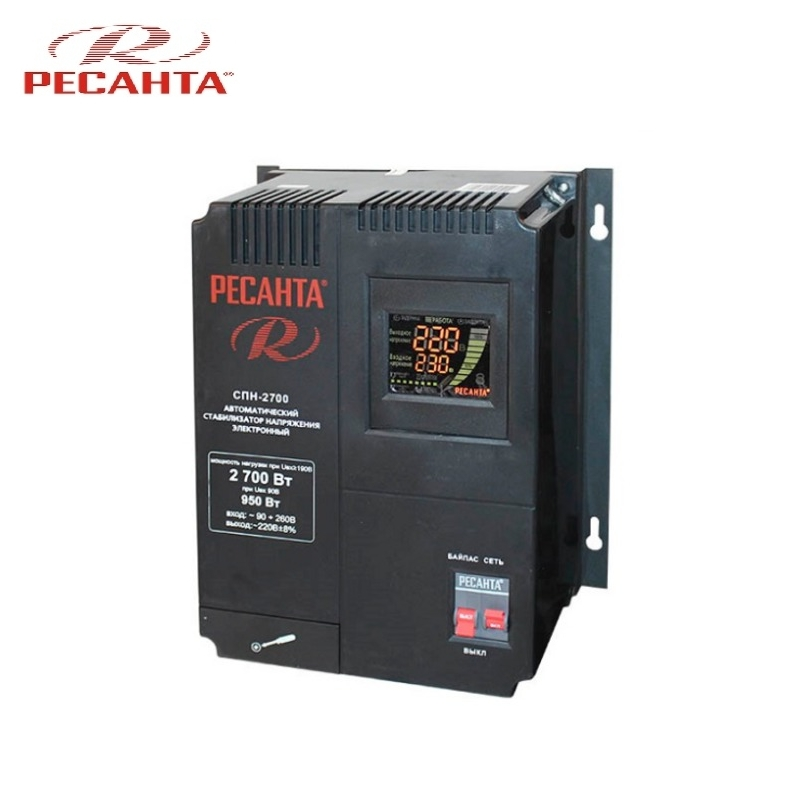 Single phase voltage stabilizer RESANTA SPN-2700 Relay type Voltage regulator Monophase Mains stabilizer Surge protect стоимость