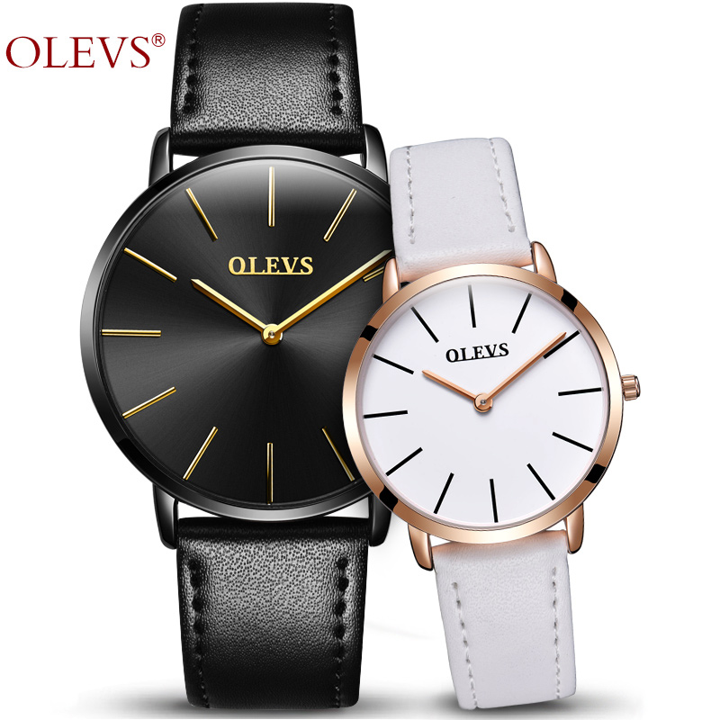 Genuine Watches OLEVS Luxury Couple Watch Women Rose Gold Casual Quartz Lovers Watch Leather Waterproof Male Wristwatch For 1pcs 2017 olevs luxury quartz casual watch fashion nylon belt watches men women couple watch for lovers sports wristwatch black