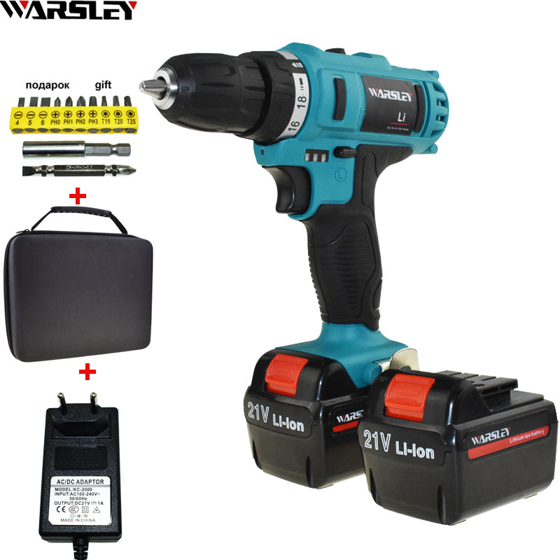 21V Power Tools Electric Screwdriver Cordless Drill Electric Drill Battery Drill Screwdriver Mini Electric Drilling Eu Plug free shipping brand proskit upt 32007d frequency modulated electric screwdriver 2 electric screwdriver bit 900 1300rpm tools