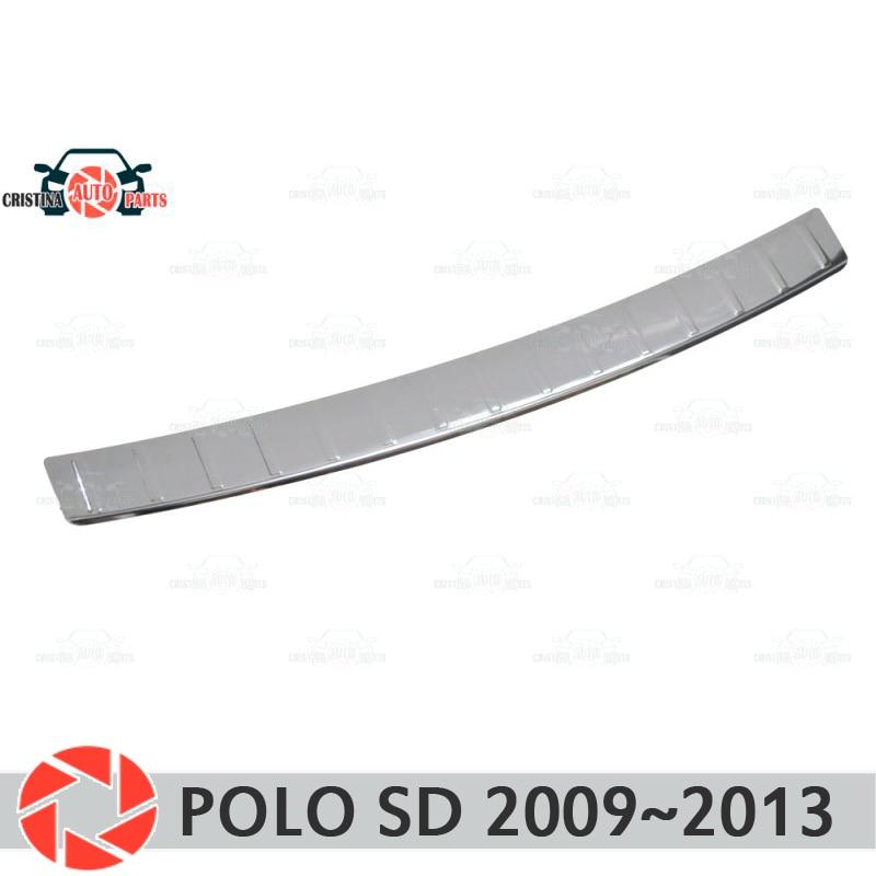 Plaque de protection de protection sur le pare-chocs arrière pour Volkswagen Polo Sedan 2009-2013