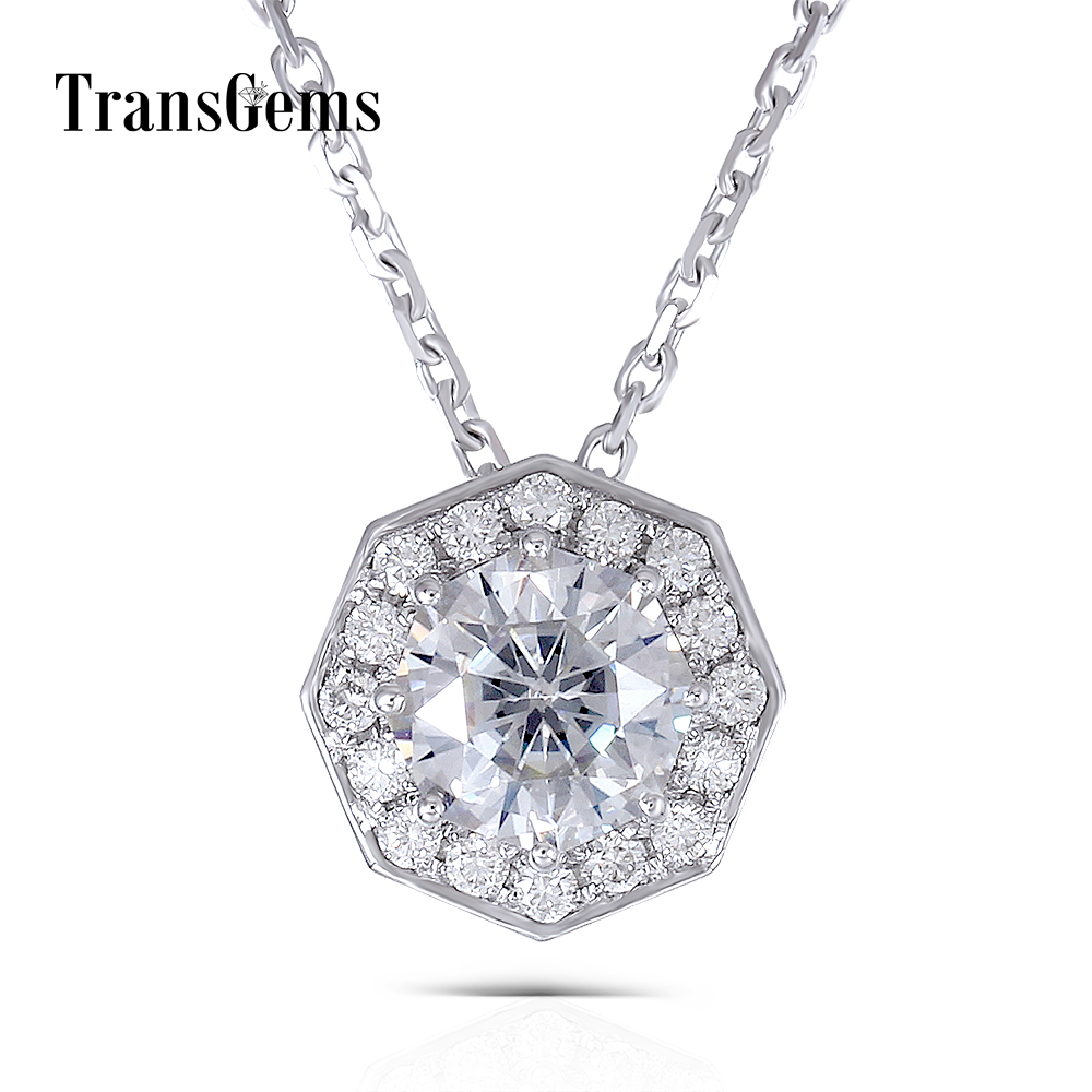Transgems Solid 14K White Gold 585 6.0MM 1 Carat F Color Moissanite Octagon Cutting Halo Pendant Slide Necklace for WomenTransgems Solid 14K White Gold 585 6.0MM 1 Carat F Color Moissanite Octagon Cutting Halo Pendant Slide Necklace for Women