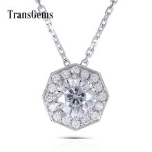 цены Transgems Solid 14K White Gold 585 6.0MM 1 Carat F Color Moissanite Octagon Cutting Halo Pendant Slide Necklace for Women