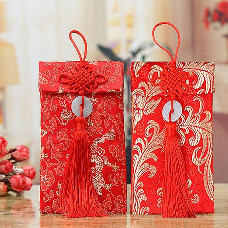 Нефритоые кольца Деньги пакеты Изысканная парча красные конверты Дракон Феникс узор для китайский красный конверты Весенний фестиваль