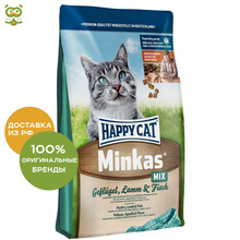 Happy Cat Minkas корм для взрослых кошек, птица, ягненок, рыба, 1,5 кг.