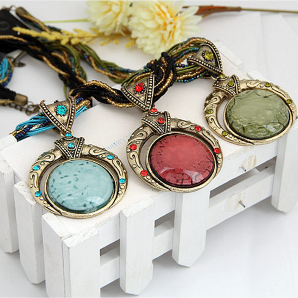 2017 New Design Hot Selling Bohemian Handmade Pendants Necklace Jewelry Large Bead Necklace Sweater Accessories