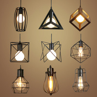 LED Pendant Lights Vintage Pendant Lamp Lustres Iron Cage Lampshade Luminaire Retro Dining Room Home Lighting