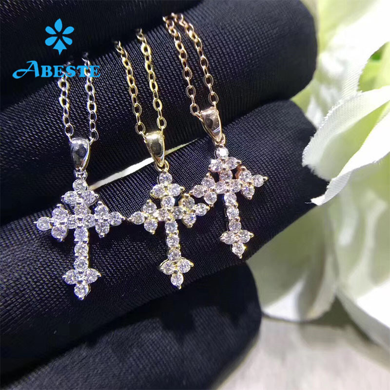 ANI 18K Rose/White/Yellow Gold (AU750) Cross Pendant 0.316ct Certificate Real Natural Diamond Women Engagement Chain Necklace